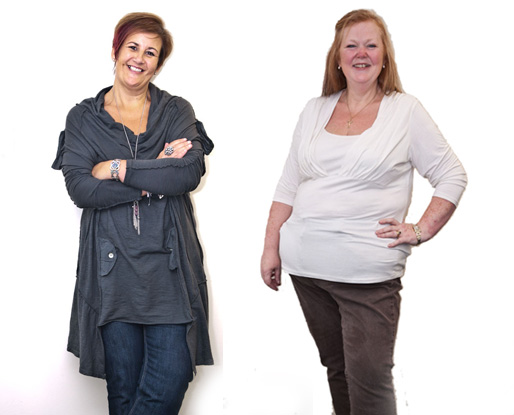 Karen and Diane after weight loss surgery
